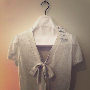 Zara Knit short sleeve cotton V-neck tie sweater